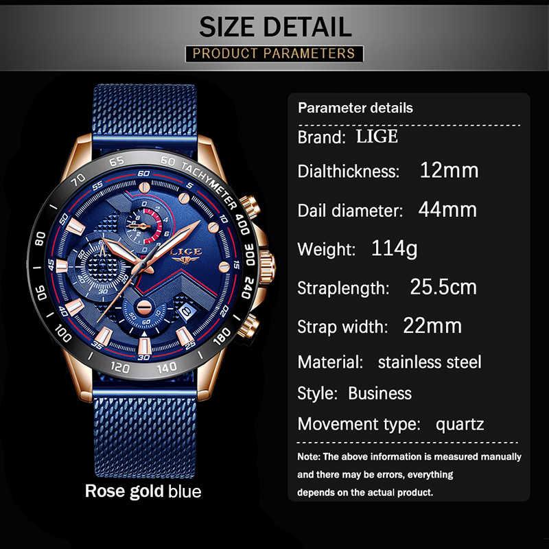 Moda Relogio Masculino LIGE Üst Marka Lüks Kol Saati Kuvars Saat Mavi Saat Erkekler Su Geçirmez Spor Chronograph Erkek Saatler