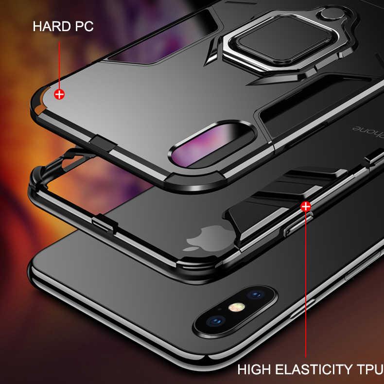 Armor Tahan Guncangan untuk Huawei P40 Pro P30 Lite P20 Mate 40 30 20 10 Kehormatan 8x Max 9X 10i P Smart Z Berdiri Pemegang Cover