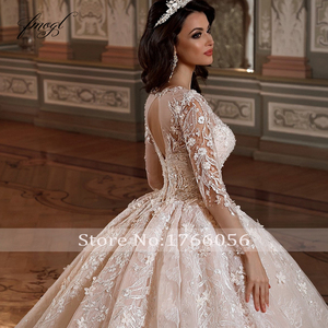 Image 4 - Fmogl Luxury Long Sleeve Flowers Lace Ball Gown Wedding Dresses 2020 Elegant Appliques Beaded Chapel Train Vintage Bridal Gowns