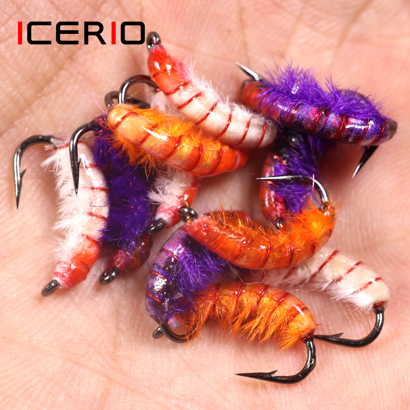 ICERIO 3PCS Czech Nymphs Scud Bug Worm Flies With Barbed Hook Trout Fishing Fly Lure Bait