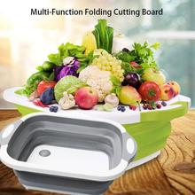 3 in 1 Kitchen Chopping Block Foldable Cutting Board Kitchen Chopping Boards Washing Basket Kitchen Organizer coupe Colander New nordic style beech wooden chopping block bread dessert tray non slip cutting board storage organizer kitchen tool for cakes