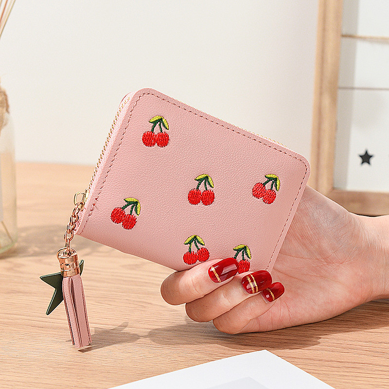 Women's Wallet 2020 Short Cherry Embroidery Short Trend Small Purses New Student Simple Fashion Wallet Zipper Ladies Coin Purse