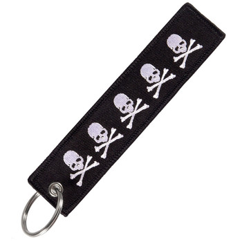 цена на Fashion travel accessories luggage tag Embroidery Dangerous Skull Black tag With Keyring Keychain for Aviation Gifts