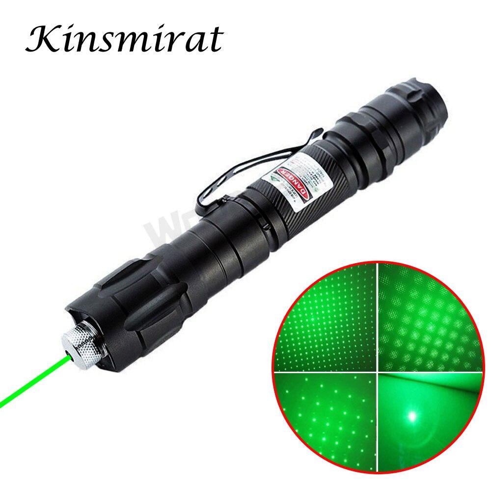 Yüksek güç yeşil/kırmızı/mavi lazerler Sight Lazer işaretçi kalem 1000m 5mW 532 nm ayarlanabilir odak Lazer pointer 18650 pil ile