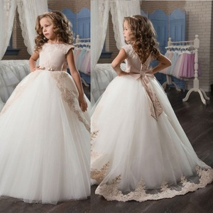 Vestidos de encaje de color champaña de alta calidad para niñas, vestidos para boda, damas de honor, niños, fiesta de cumpleaños, vestido de princesa, primera comunión
