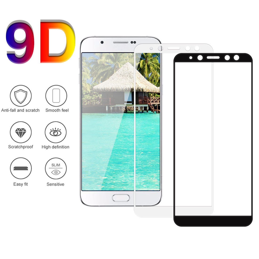 9D Full Cover Tempered Glass For Samsung Galaxy J3 A90 A80 A8plus <font><b>A82018</b></font> Perfect Screen Protective Glass image