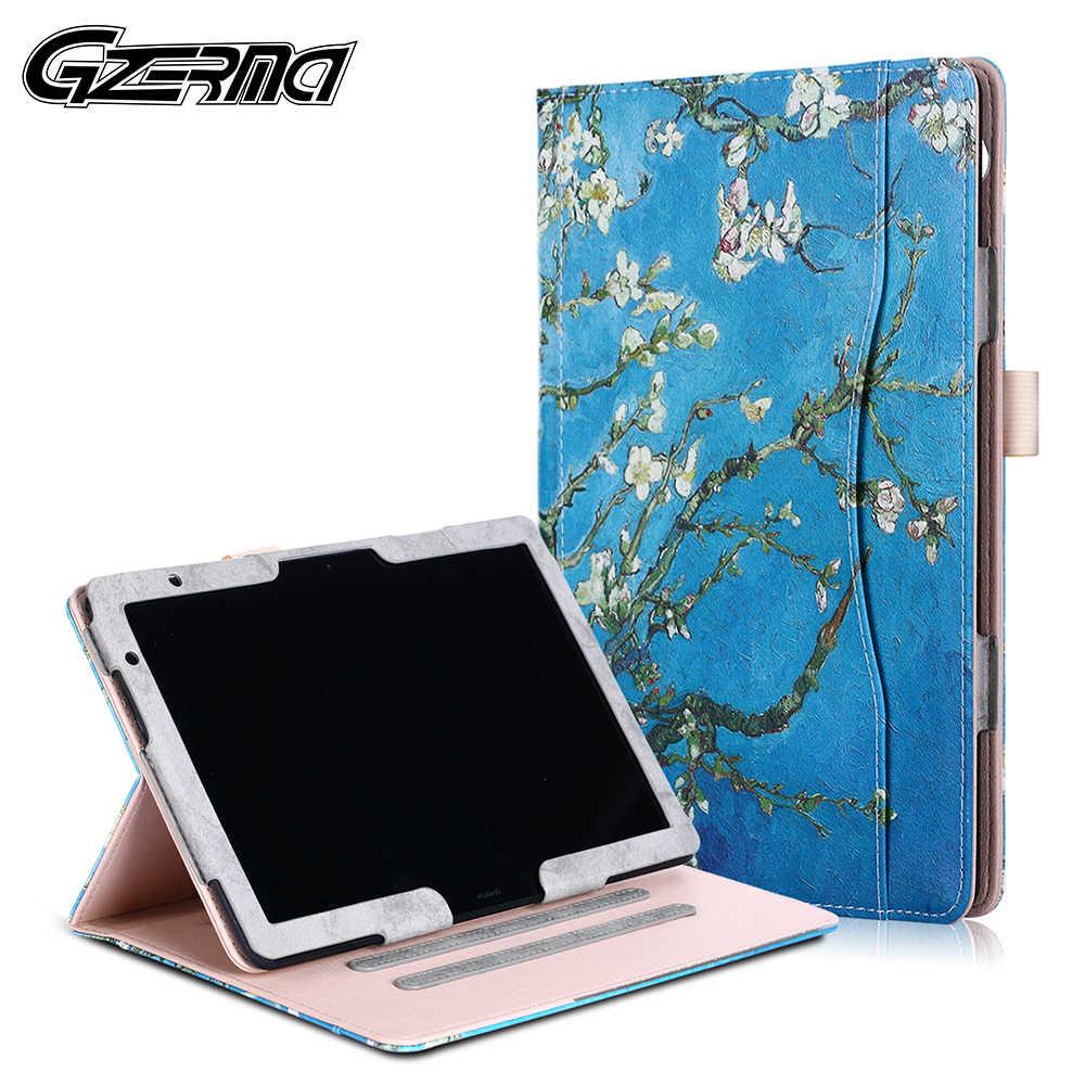 Gzerma Lipat Folio Stand Case Penutup untuk Huawei MediaPad T5 10 2018 Rilis Tablet Case untuk Huawei MediaPad M5 Lite 10 2018