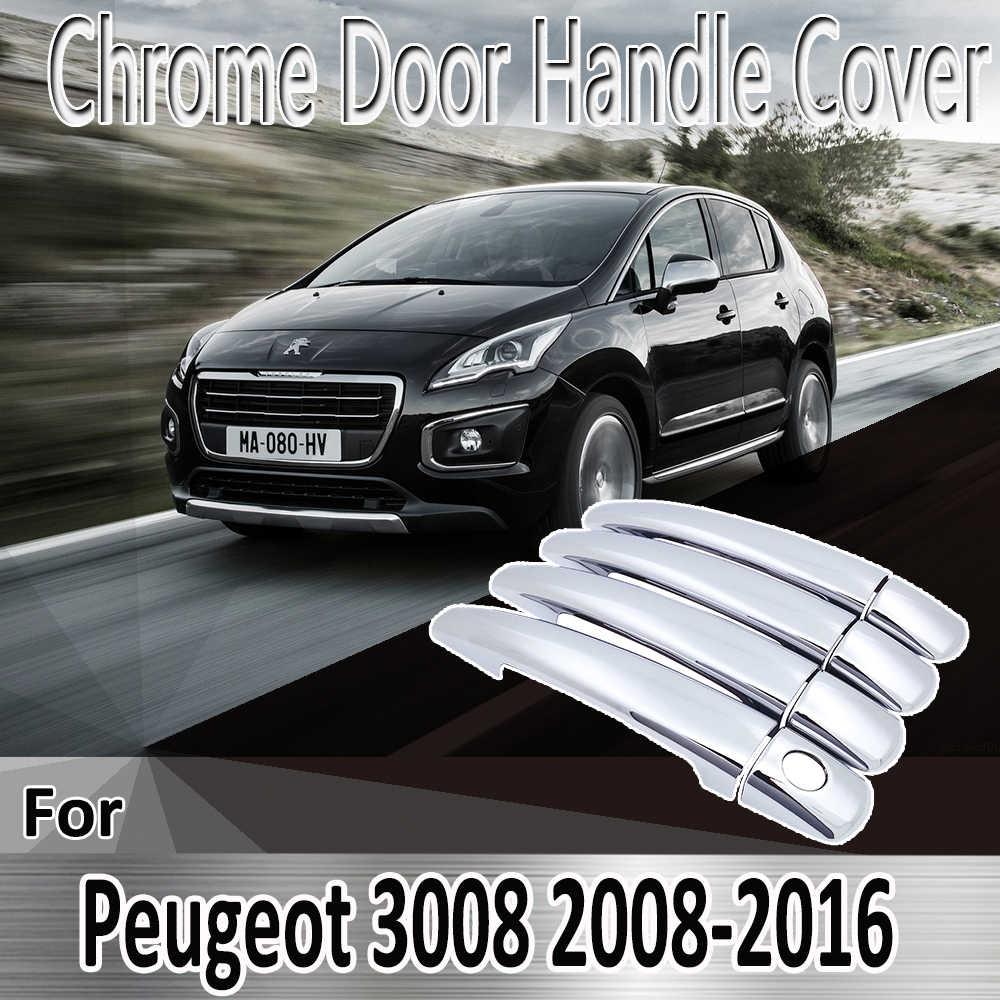 Para Peugeot 3008 2008 ~ 2016 pegatinas de diseño decoración cromo manija de la puerta pintura Refit accesorios de coche