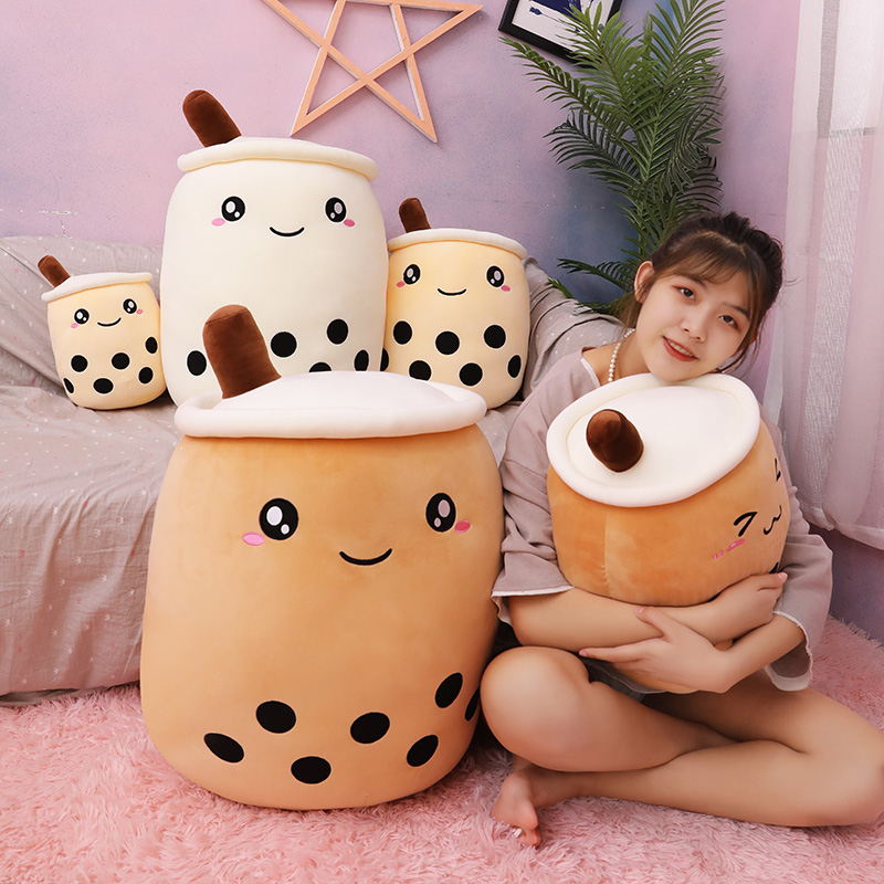Boxi 25/35/50cm Cute Boba Plush Pillows Toys New Kawaii Soft Stuffed Bubble Milk Tea Doll Cushion Birthday Gift Toy