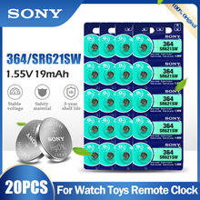 Battery Watch Sony 364 SR621SW AG1 Calculator Button-Cell Silver 20PCS LR60 for Toy Meter