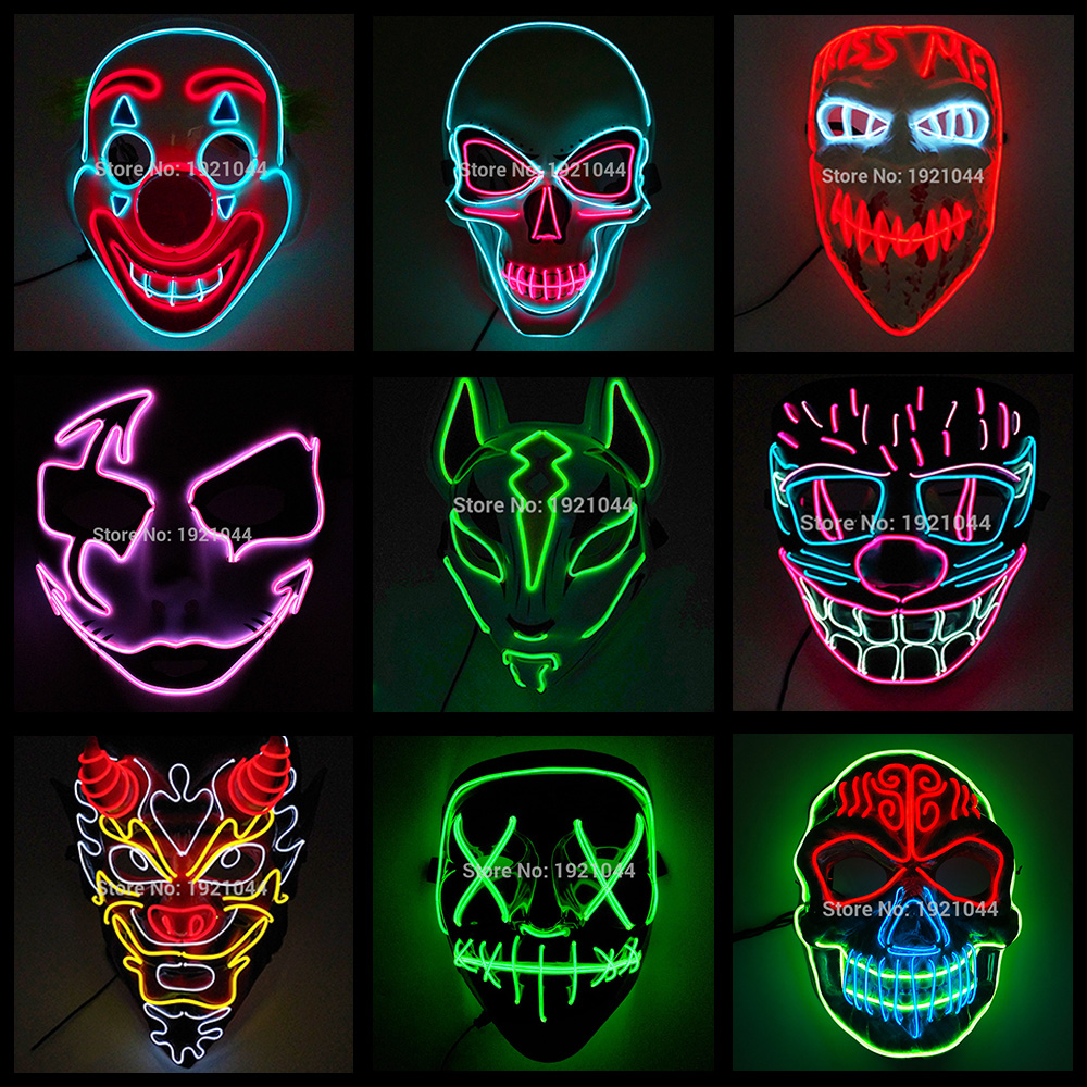 Hot Sales Halloween Cosplay Party Decorative Mask LED Light up Scary Mask EL Neon Mask for Festival Carnival Party Supplies