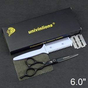 """Image 5 - 6"""" black hair scissors japanese razor hairdressing scissors barber hair clipper for salon hairstylist hair cutting shears kit"""