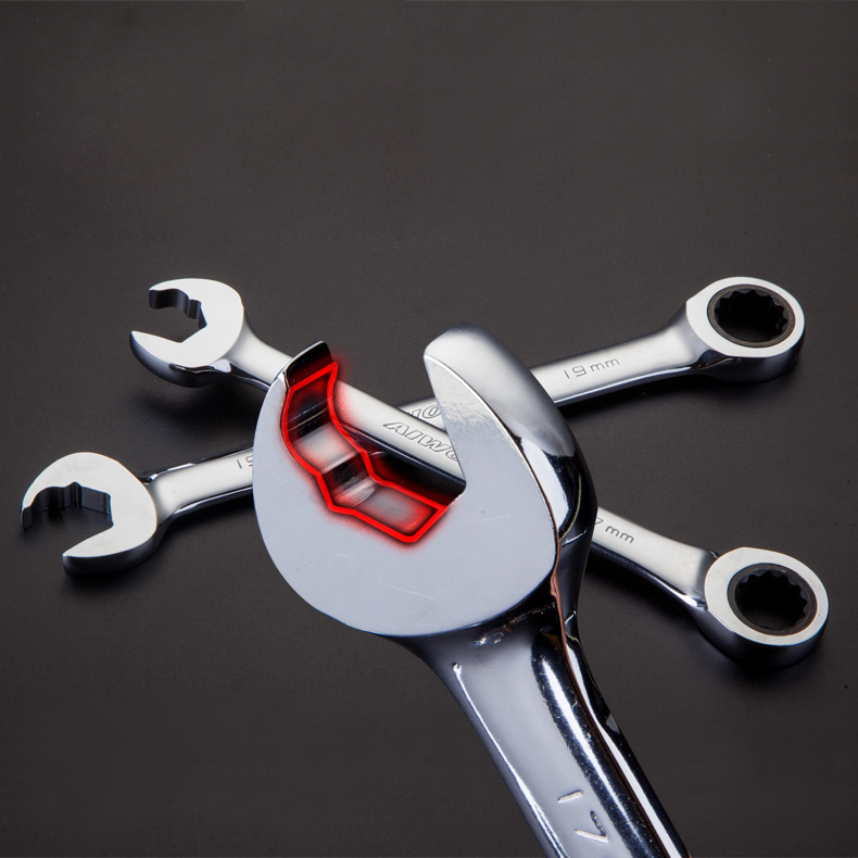 Anti-slip Labor-saved Ratchet Wrench Dual-use Open End And Plum End Spanner For Repairing A Set Of Key