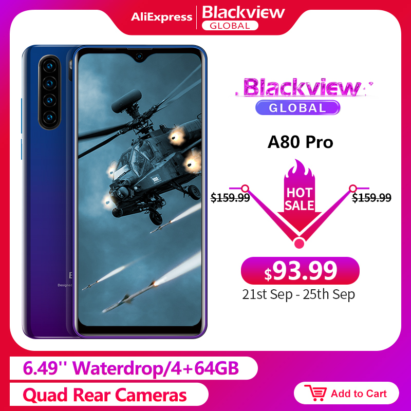 Blackview A80 Pro 6.49'' Waterdrop 4GB + 64GB Smartphone Helio P25 Octa Core Android 9.0 Global Version 4G Mobile Phone 4680mAh(China)
