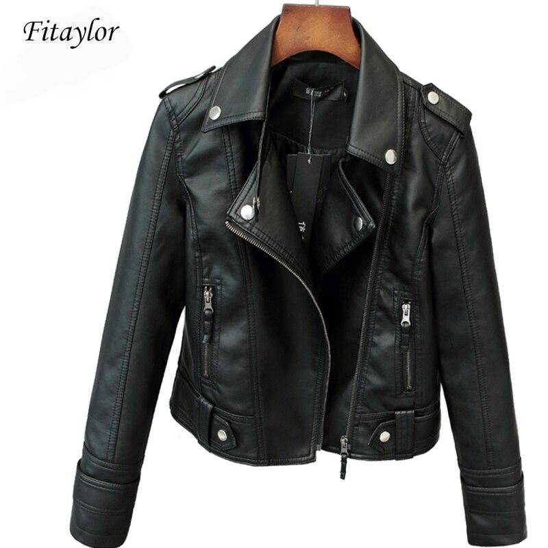 Fitaylor חדש אביב סתיו נשים קצר פו פו Jacket Slim אופנה פאנק להאריך ימים יותר אופנוע עור מעיל מזדמן מעיל