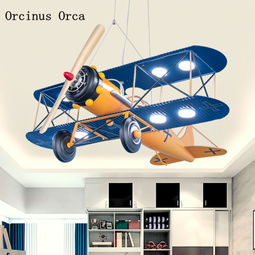 Color retro airplane chandelier boy bedroom children's room lamp American Creative led iron fighter Chandelier image