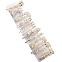 Metal Pearl Hairpin Combination Minimalist Sweet Wind Liu Hai Clip One Character Clip Hair Accessories(China)