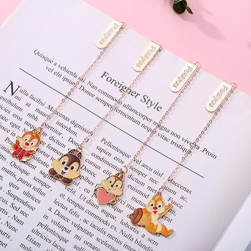 1 Pcs Cartoon Animal Squirrel Pendant Metal Bookmarks Page Holder Clip Stationery School Office Supply Escolar Papelaria
