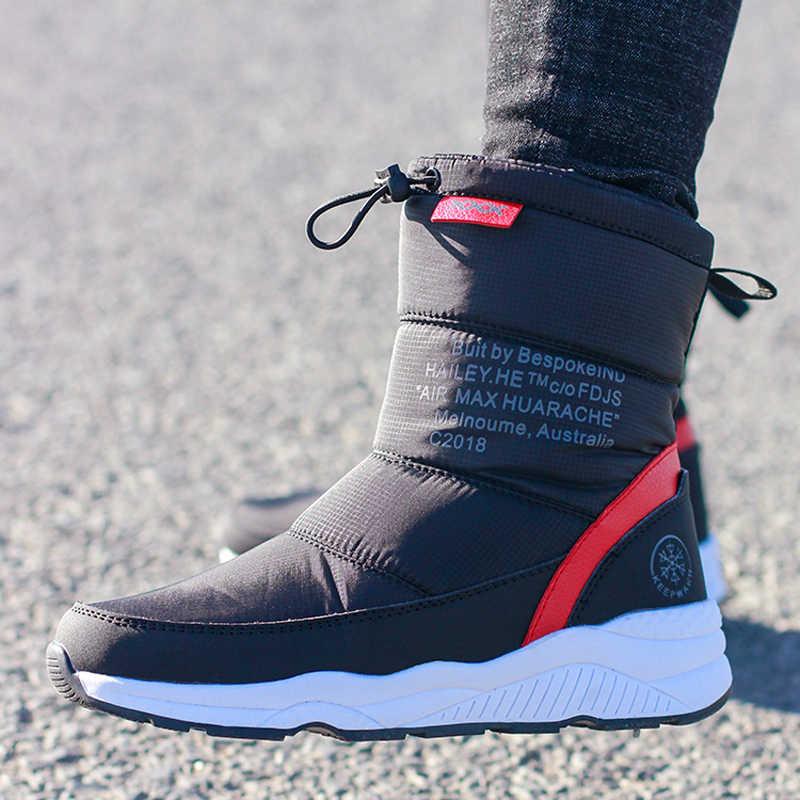 Kadın kışlık botlar kaymaz su geçirmez kar botları kadın kalın peluş yarım çizmeler yüksek kaliteli kış ayakkabı kadın boyutu 36-44