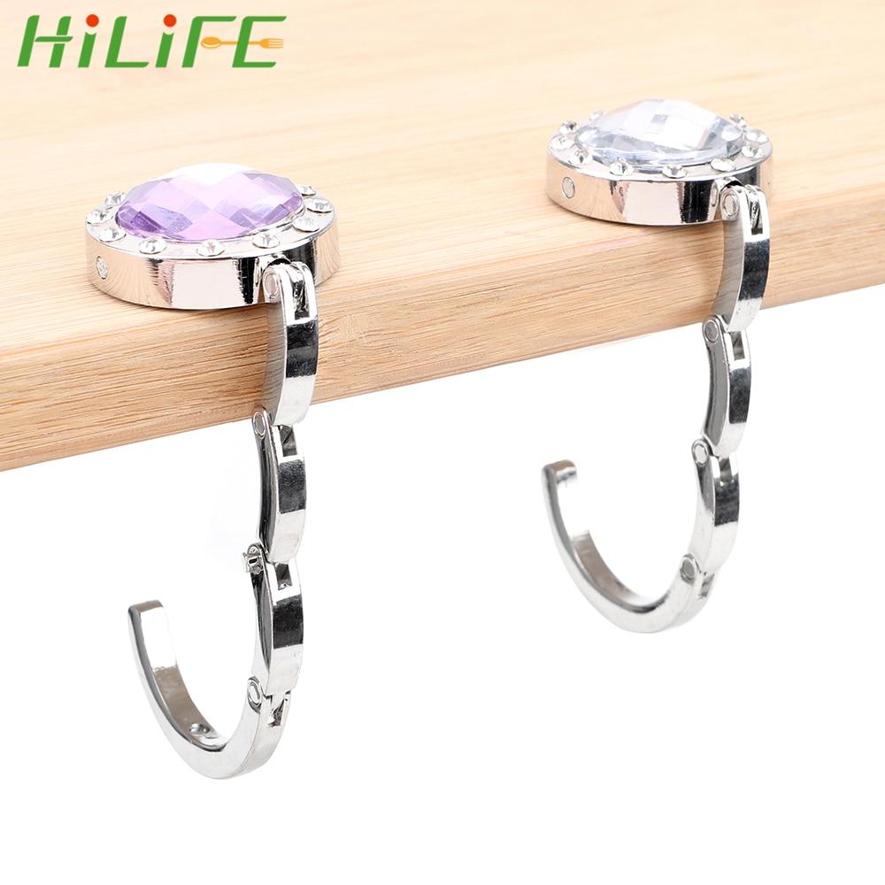 HILIFE Foldable Hangbag Hook Desk Hanger Purse Bag Hook Holder Crystal Alloy For Hanging Table Hook Portable 3 Colors