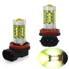 2 sztuk 2835 H8 H9 H11 H15 H16 P13W 9005 9006 przeciwmgielne LED reflektor samochodowy żółty żarówki świetlne dla światła przeciwmgielne samochodu led światła przeciwmgielne tanie tanio BAYERLEY 12 v H11 H8 H9 2 x H9 Led Light 3 5 x 6cm 3 Metal Glass Yellow