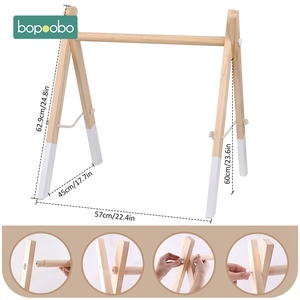 Image 5 - Bopoobo תינוק עץ שרשרת לעיסה צמיד תינוק נייד עץ Teether עלה רעשן צעצוע יכול ללעוס BPA משלוח תינוק בקיעת שיניים מתנות