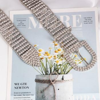 [LFMB]luxe brillant pleine strass incrusté femmes ceinture mode femme mariée large Bling cristal diamant taille chaîne ceintures 6
