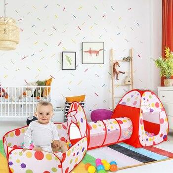 Túnel de arrastre para tienda de juegos infantil con soporte de baloncesto, tienda plegable para exteriores, 3 uds., lunares de colores