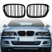 Glossy Black Front Hood Kidney Grille Grill ABS Dual Line Compatible for BMW E39 5-Series 525 528 1995-2004 Front Bumper Grille