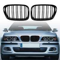 Negro brillante frente capucha riñón rejilla ABS doble línea Compatible para BMW E39 5-de la serie 525 de 528, 1995-2004 parachoques delantero parrilla