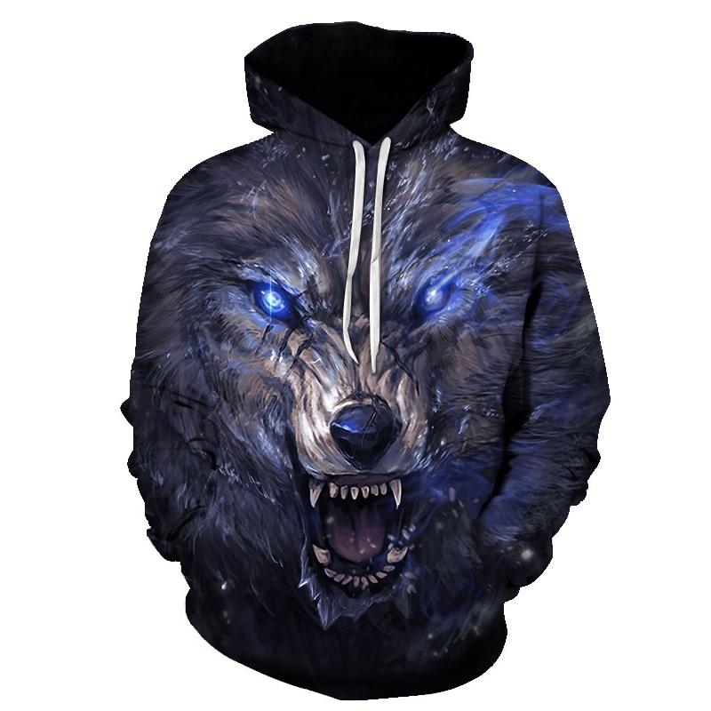 Fashion Men Wolf Animal 3D Printed Hooded Hoodies Men / Women's Shinning Wolf Design Sweatshirts 3D Harajuku Hoody