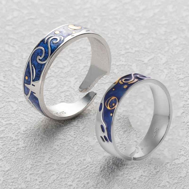 S925 Серебряное покрытие Ван Гог звездное небо открытый любовник кольца группа романтические ювелирные изделия