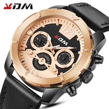 2020 KDM Mens Watches Top Brand Luxury Casual Leather Quartz Clock Male Sport Waterproof Watch Gold Watch Men Relogio Masculino
