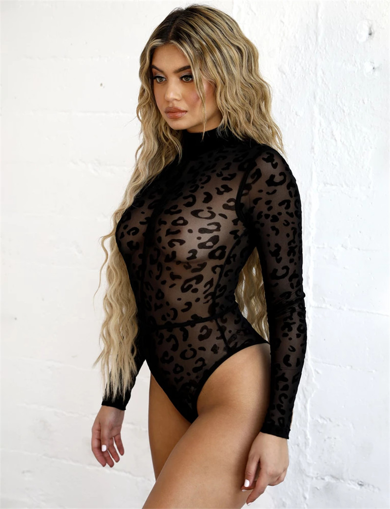 Leopard Print Bodysuit Hot Women Mesh Sheer Transparent Long Sleeve Bodysuit Jumpsuit Clubwear Turtleneck Bodycon Black Bodysuit