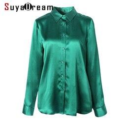 SuyaDream, женская простая шелковая блузка, 100% шелк, атлас, длинный рукав, отложной воротник, офисные блузки, 2020, Весенняя рубашка