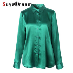 SuyaDream Women Plain Silk Blouse 100%SILK SATIN Long Sleeved Turn Down Collar Office Blouses 2020 Spring Shirt