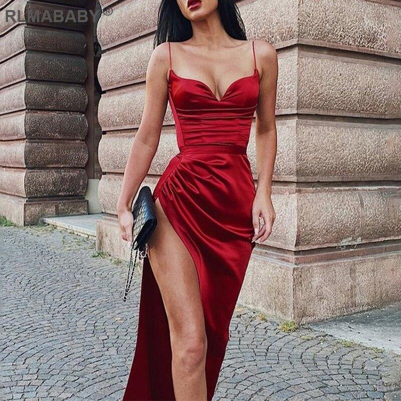 Sexy Ruched Sashes Mid Calf Satin Dress Spaghetti Strap V Neck Backless Women Bodycon Dress Elegant Club Night Party Red Dress|Dresses| - AliExpress
