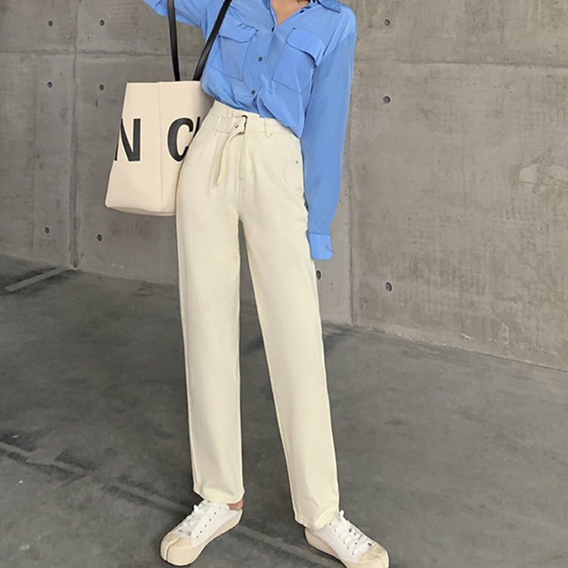 JUJULAND Woman Straight Jeans With A Belt Loose High Waist Straight Trousers In Autumn And Winter 3257