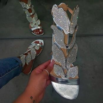 цена на Dropshipping Summer Women Flat Ankle Strap Sandals Womens Buckle Glitter Gladiator Beach Shoes Women Crystal Bling Ladies Plus