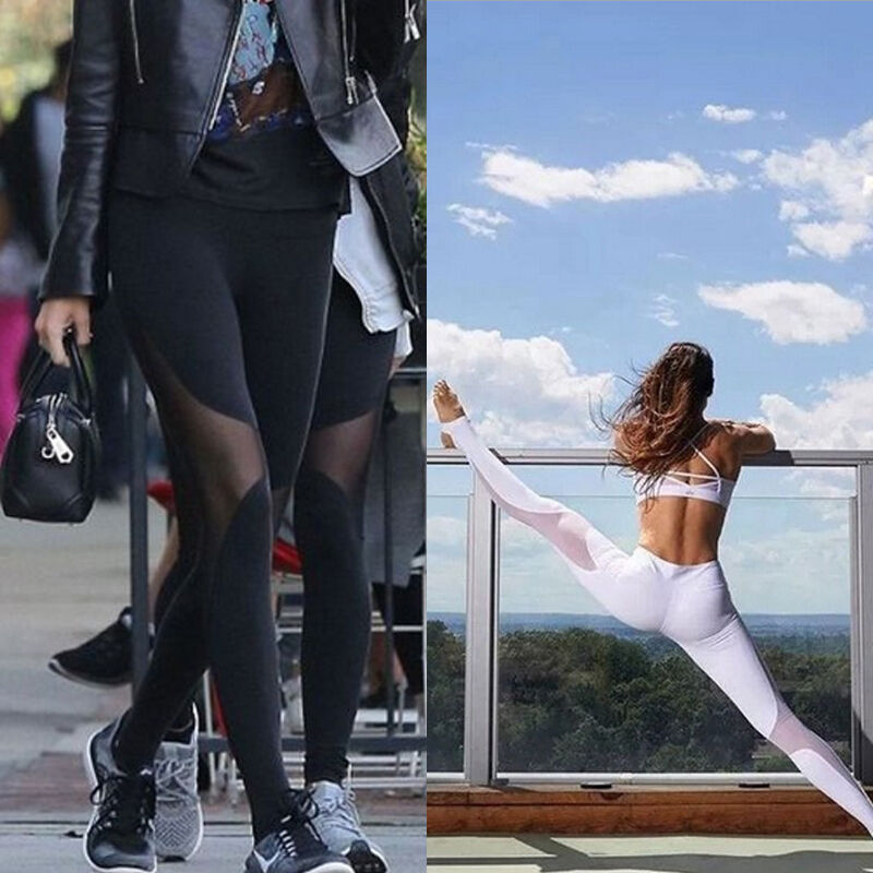 Women Sports Pants High Waist Yoga Fitness Leggings Running Reflective Trousers title=