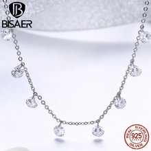 BISAER Choker Necklace 925 Sterling Silver AAA Round Clear CZ Metal Choker Chain Necklace for Women Fashion Accessories GXN299 black metal chain fringe choker necklace