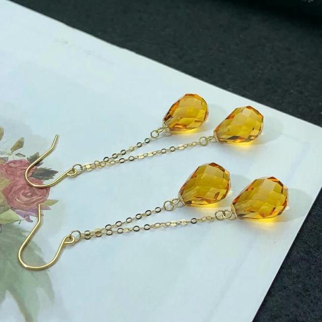 shilovem 18k yellow gold citrine drop earrings  fine Jewelry women party new classic plant  gift 8*11mm myme0811222j 3