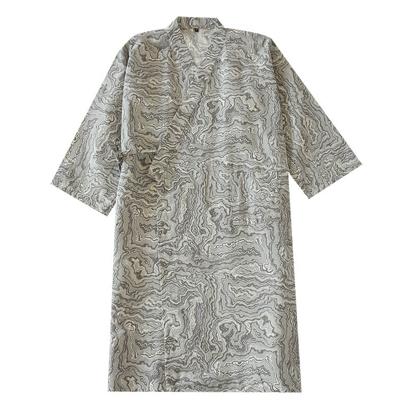 2020 New Men's Sleepwear Kimono Style Homewear Comfort Gauze Cotton Robes Spring And Autumn Loose Thin Men Cardigan Bathrobe