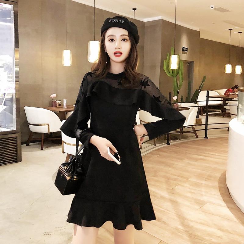 2018 Debutante WOMEN'S Dress New Style Autumn And Winter Fashion Transparent Mu Er Xiu Suede Slimming Fishtail Dress