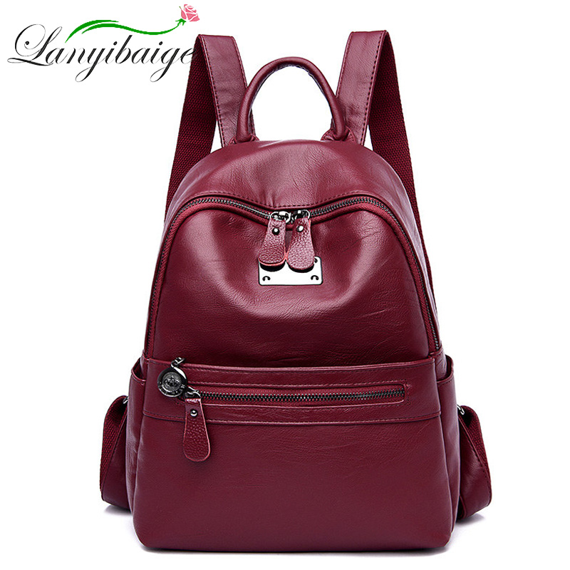 LANYIBAIGE High Quality Leather Woman's Backpack New 2019 Fashion Backbag Female Large Capacity School Bag Mochila Feminina