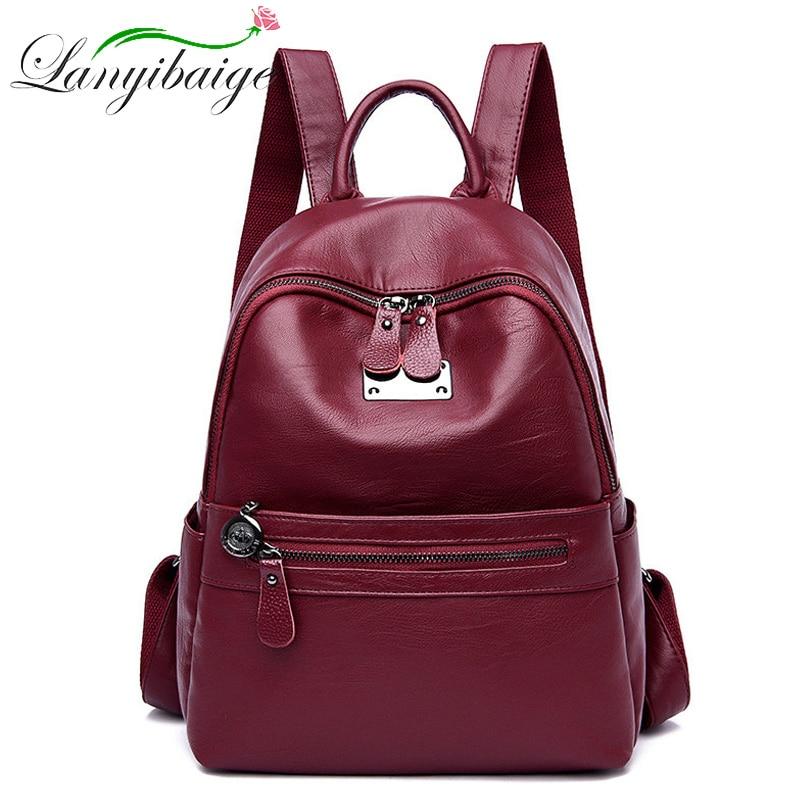 LANYIBAIGE High Quality Leather Woman's Backpack New 2019 Fashion Backbag Female Large Capacity School Bag Mochila Feminina