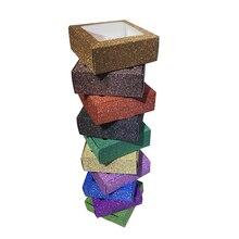 10 sztuk brokatowe pudełko papierowe z okienkiem biżuteria wyświetlacz rzęsy pakiet handmad cukierki ciasteczka pudełko ślub BENO mydło box