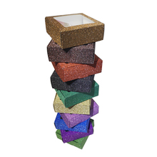10pcs גליטר קרפט נייר קופסא עם חלון תצוגת תכשיטי ריסים חבילה handmad סוכריות עוגיות תיבת חתונה בנו סבון תיבה