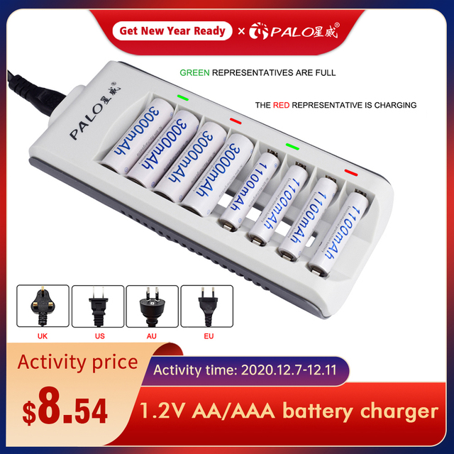 PALO 8 slots nimh nicd battery smart charger fast charge with LED display for 1.2V aa aaa rechargeable battery Quick charger