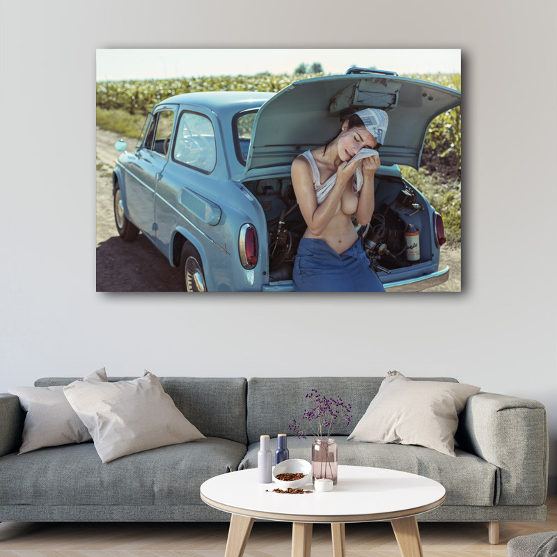 Sexy Woman with Retro Car Girl Chest Model Outdoor Photo Wall Art Posters Canvas Prints silk paintings For Living Room Decor 2